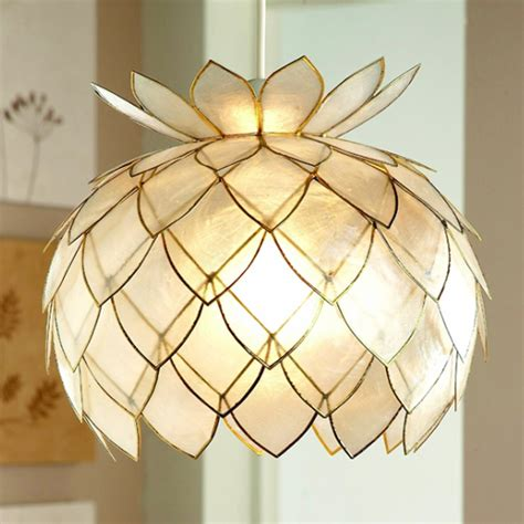 artichoke capiz ceiling light shade gold