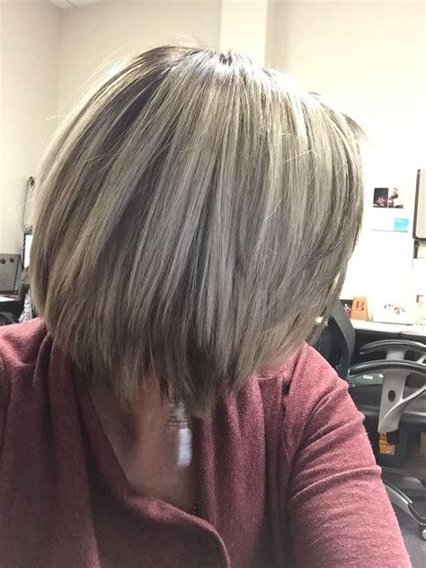 brown hair grey highlights hairstyles pinterest