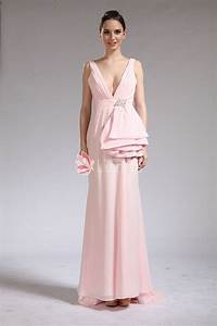 Bridal Size Chart Plunging V Neck Light Pink Chiffon Prom Dress With