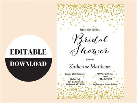 editable gold confetti bridal shower invitation magical