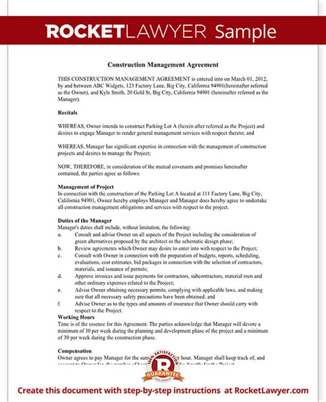 construction management agreement contract form  sample