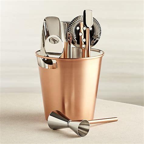 bar tool set copper crate and barrel