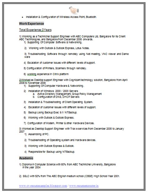 Resume For Ccna Fresher by Ccna Fresher Resume Model