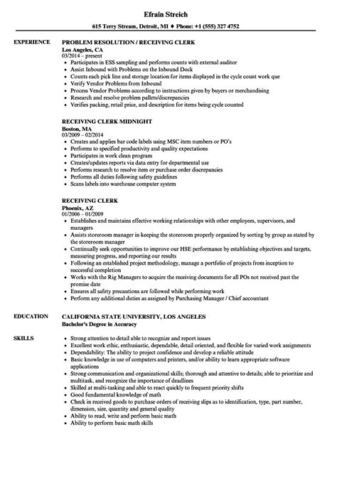 Shipping Clerk Resume by Receiving Clerk Resume Sle Ipasphoto