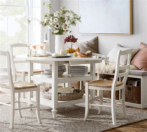 Shayne Dropleaf Kitchen Table, White  Pottery Barn