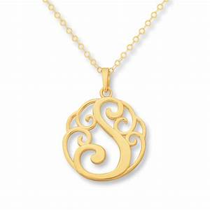 kay monogram necklace initial quotsquot 14k yellow gold With monogram letter necklace