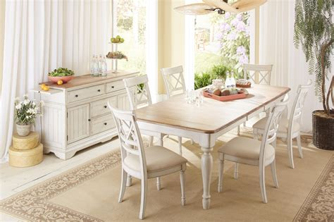 two tone kitchen table cresent furniture cottage rectangle farmhouse table