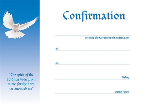 confirmation  certificate blue pack
