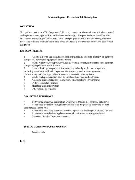 Desktop Support Technician Job Description
