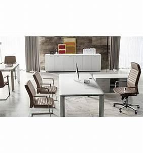 Bureau Bois Blanc : bureau de direction iulio finition bois blanc ~ Teatrodelosmanantiales.com Idées de Décoration