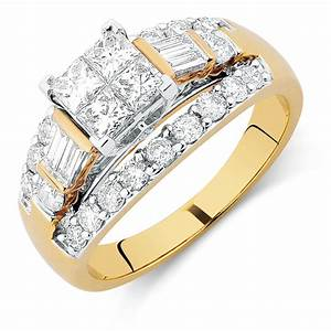engagement ring with 1 3 4 carat tw of diamonds in 14ct With 4 carat wedding ring