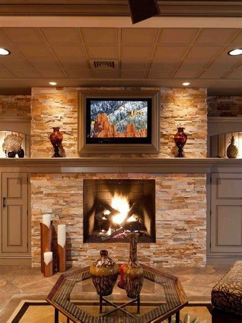 stone fireplace  ceiling accent lights basement