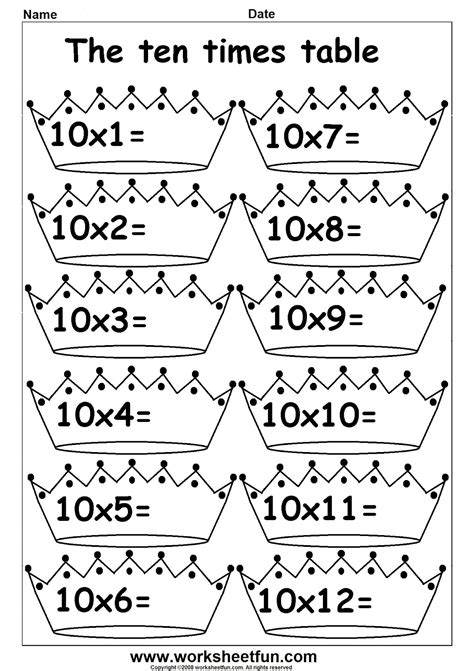 free multiplication by 10 worksheets practice times