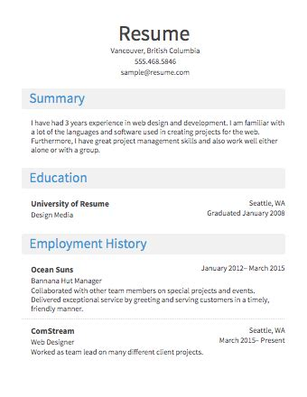 Free Résumé Builder  Resume Templates To Edit & Download