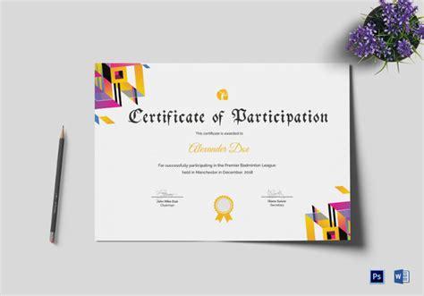 badminton certificate  word psd format