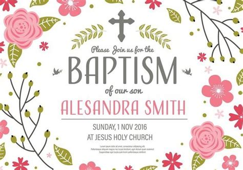 Free Invitation Baptism Template Vector Free Vector