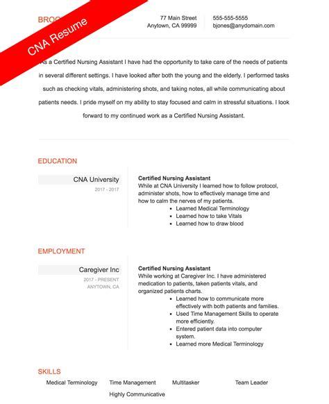 Nursing Assistant Resume by Cna Resume Sle