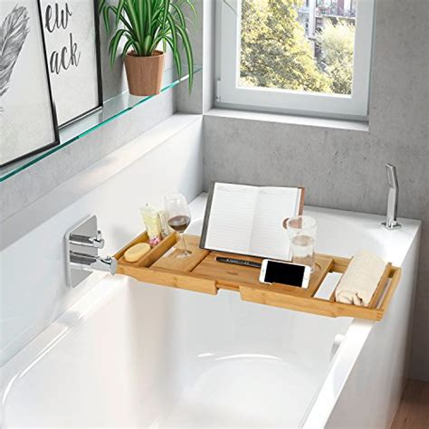 homfa bamboo bathtub tray bath table adjustable caddy tray