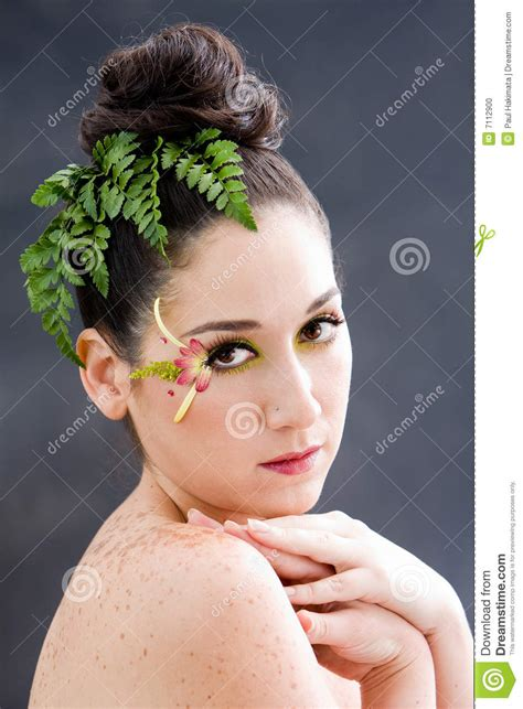 flower eye makeup stock photo image  female branches