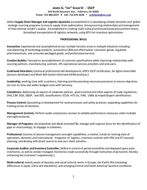 Supply Chain Specialist Resume by Supply Chain Logistics Resume 3 21 2013