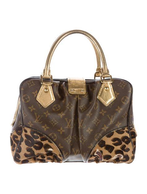 louis vuitton monogram leopard adele satchel handbags lou  realreal