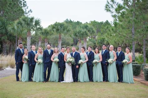 sage green  navy blue wedding party