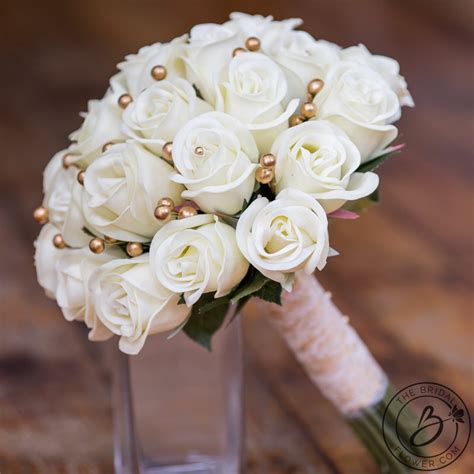 ivory and gold real touch wedding bouquet the bridal