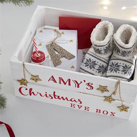 stencilled christmas eve box  christmas