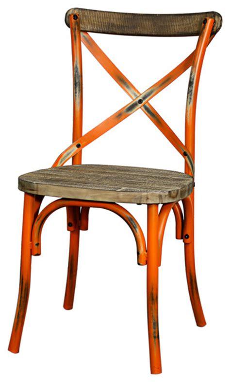 natalie metal chair distressed orange farmhouse