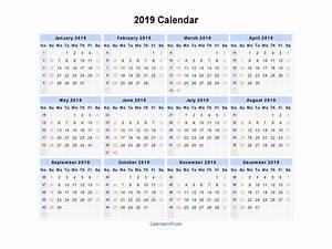2019 Calendar Blank Printable Calendar Template In Pdf