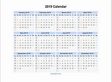 2019 Calendar Printable yearly printable calendar