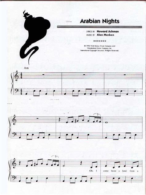 disney aladdin arabian nights piano sheet