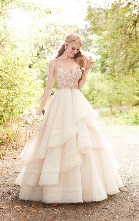 pink wedding dress  rose gold beading martina liana
