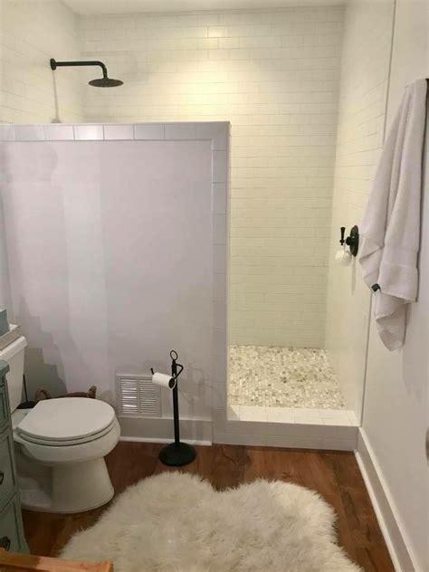 farmhouse basement remodel walk in shower no door marble