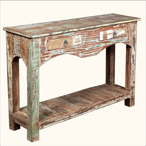rustic wood entry table distressed reclaimed wood 2 drawer rustic console hall