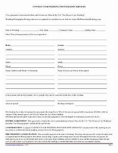 Wedding photography agreement forms and templates for Contract for wedding photography services