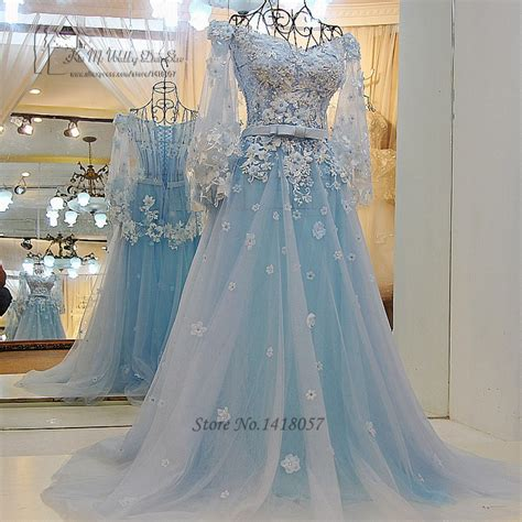 Vintage Bohemian Wedding Dress Princess Light Blue Wedding