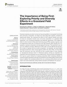 PDF The Importance Of Being First Exploring Priority