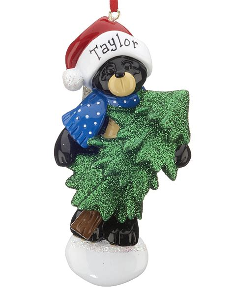 bear christmas ornaments black tree personalized ornament