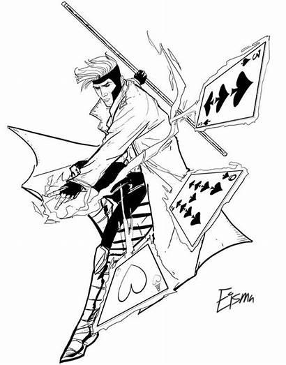 Gambit Deviantart Coloring Marvel Pages Line Avengers