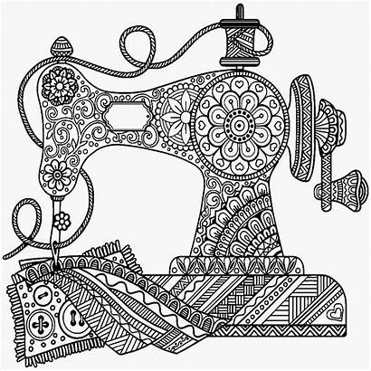 Sewing Coloring Pages Drawing Machine Mandala Antique