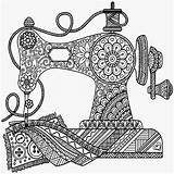 Sewing Coloring Pages Drawing Machine Mandala Antique Printable Sew Zentangle Drawings Prints App Colouring Pencil Getdrawings Doodle Getcolorings Adult Pdf sketch template