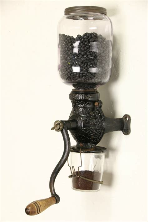 SOLD   Arcade Crystal 1890's Antique Wall Coffee Grinder