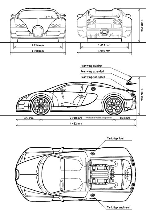 Bugatti Veyron Blueprint - Download free blueprint for 3D