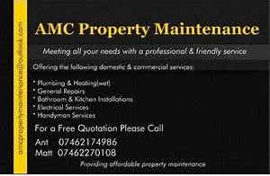 Amc property maintenance property maintenance company in for Property maintenance business cards