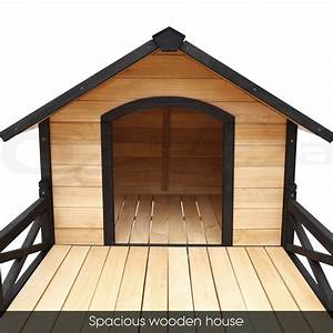 Pet dog kennel house with patio wooden extra large timber for Large dog house with porch