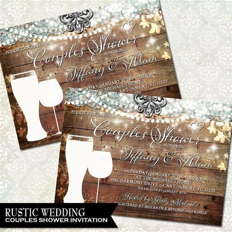 couples shower rustic bridal shower invitation vineyard