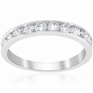 1ct diamond wedding ring 14k white gold channel set womens With white gold womens wedding rings
