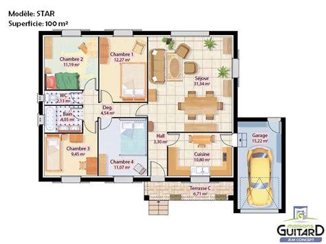 modele maison plain pied 4 chambres maison de plain pied avec toiture deux pentes et garage modèle j f m concept