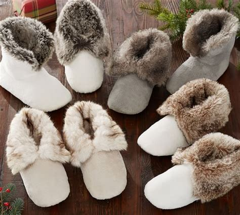 pottery barn slippers faux fur booties pottery barn